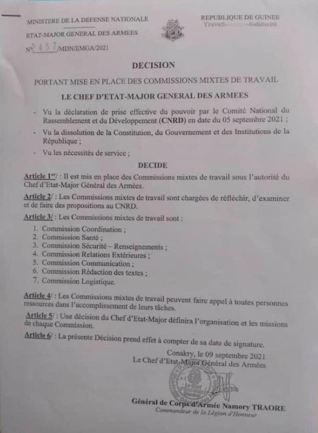 20210911 173145 Coup-d'Etat en Guinée: L'état-Major des armées fait une annonce